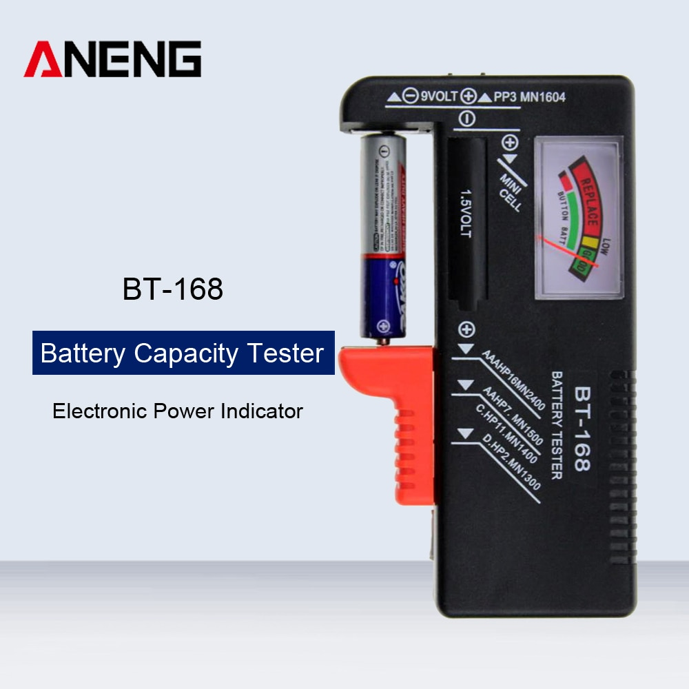 BT-168 probador de capacidad de batería Digital Universal Volt Checker para AA AAA 9V Botón de múltiples tamaños probador de batería medidor de voltaje