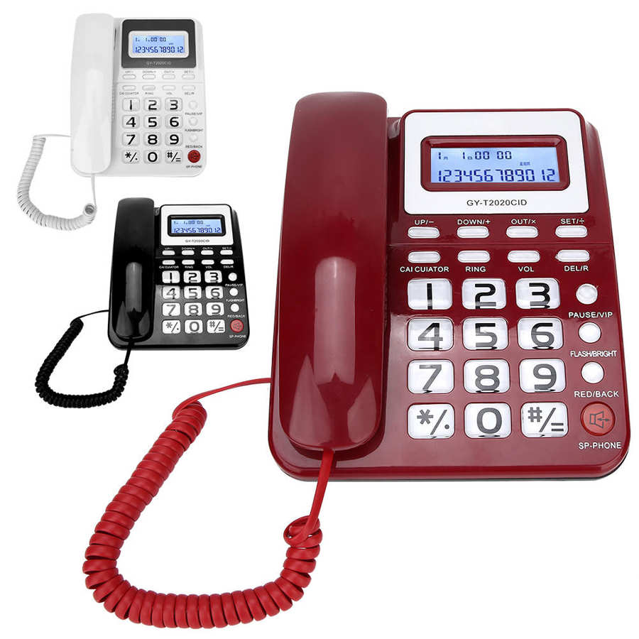 Teléfono inalámbrico ABS GY T2020CID, con cable, con altavoz, grabadora de voz,...