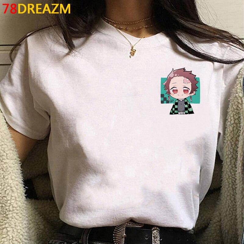 Популярная футболка с героями японского аниме «Демон-убийца» Для женщин Kimetsu No Yaiba, футболка с героями мультфильмов Kawaii Tanjirou Kamado, футболки с ...