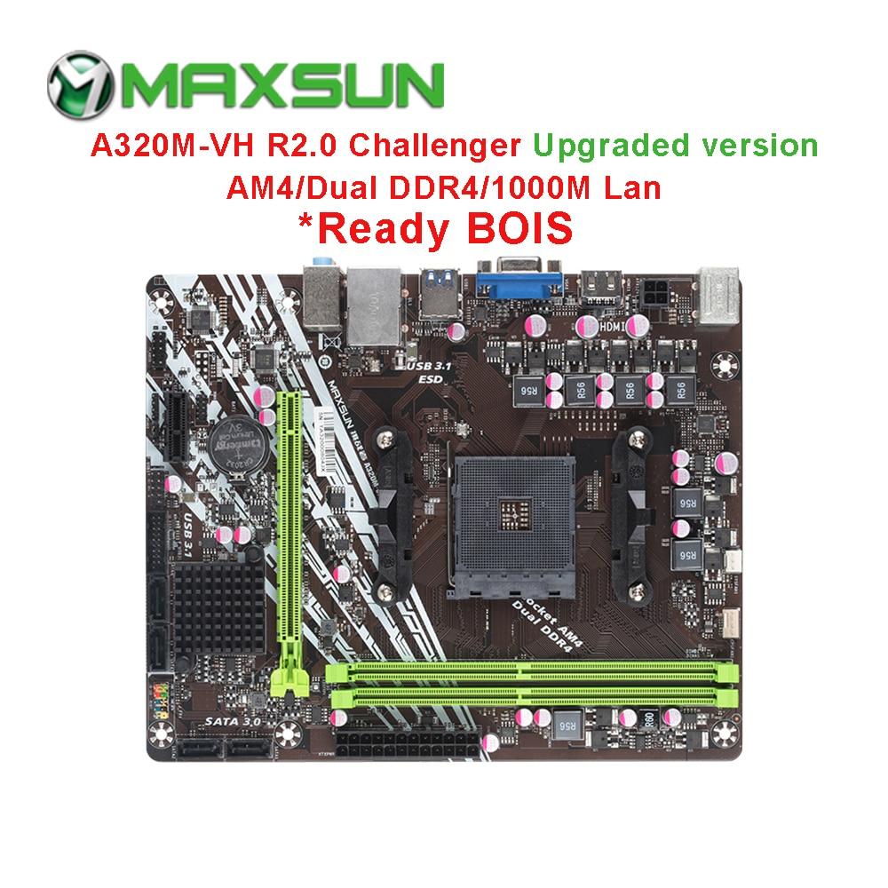 MAXSUN am4 Challenger a320m-VH R2.0 placa base AMD mATX de doble canal DDR4 1000M LAN SATA3.0 USB3.1 VGA HDMI 5 fase mainb