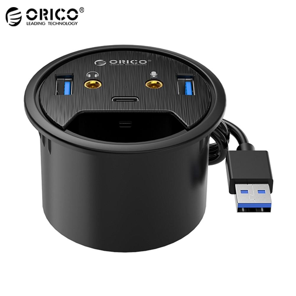 ORICO Desktop Grommet USB 3.0 HUB Type-C Audio Port Desk Mount Dongle Splitter Multi-Function Power Table Mounting Adapter