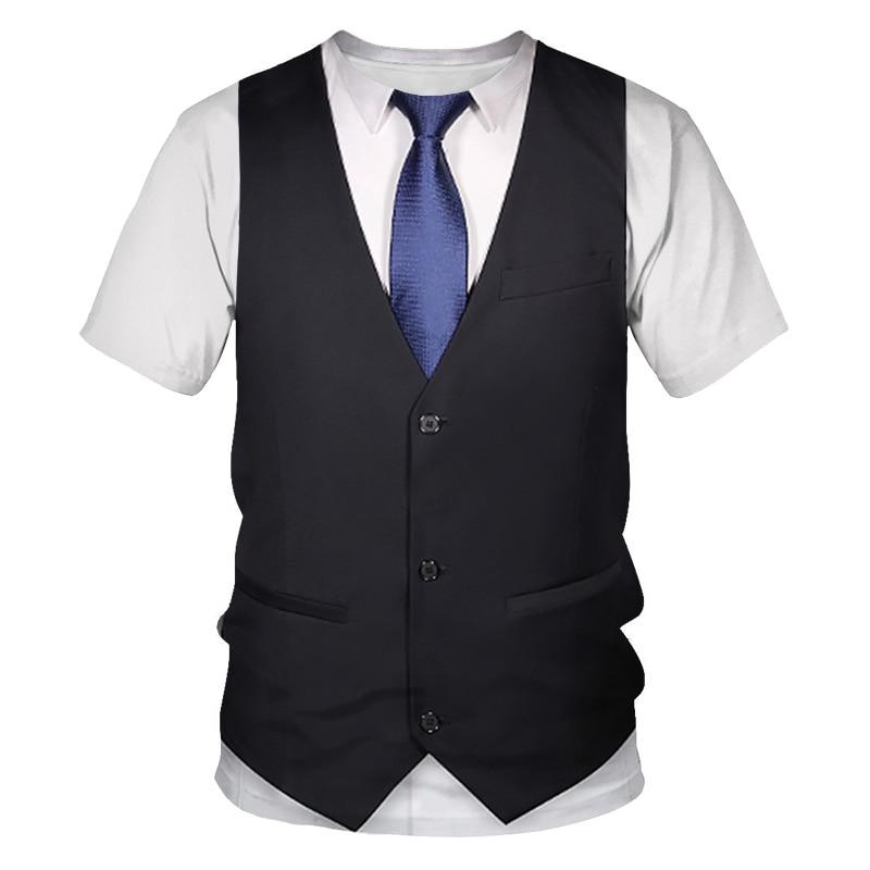 3D T shirt Funny Fake Suit Tuxedo Bow Tie 3D Printed T shirts Men Summer Fashion Short Sleeve Streetwear Fake Suit Vest Tshirt