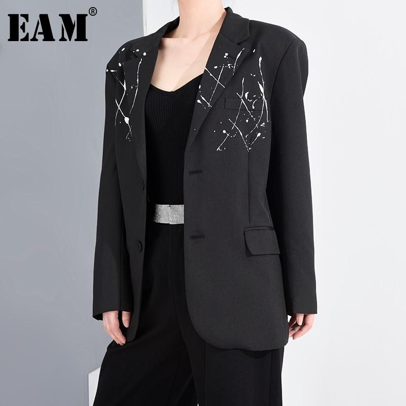 [EAM]  Women Black Pattern Printed Big Size Blazer New Lapel Long Sleeve Loose Fit  Jacket Fashion Spring Autumn 2020 1T73901