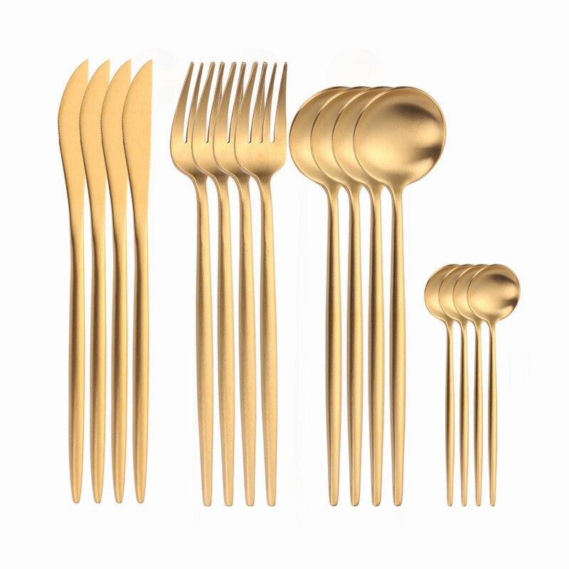 Vajilla dorada, cubiertos de acero inoxidable, juego completo de tenedor y cuchillo, Kit de utensilios reutilizables, juego de vajilla, juego de platería