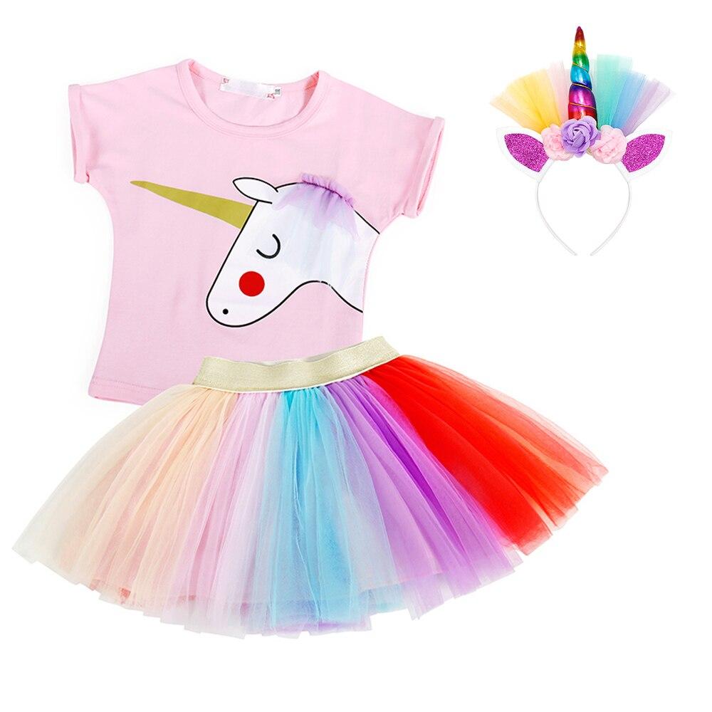 AmzBarley 2 piezas ropa de niñas conjunto unicornio algodón Tops colorido tutú falda niño camiseta conjunto niños ropa de verano conjunto