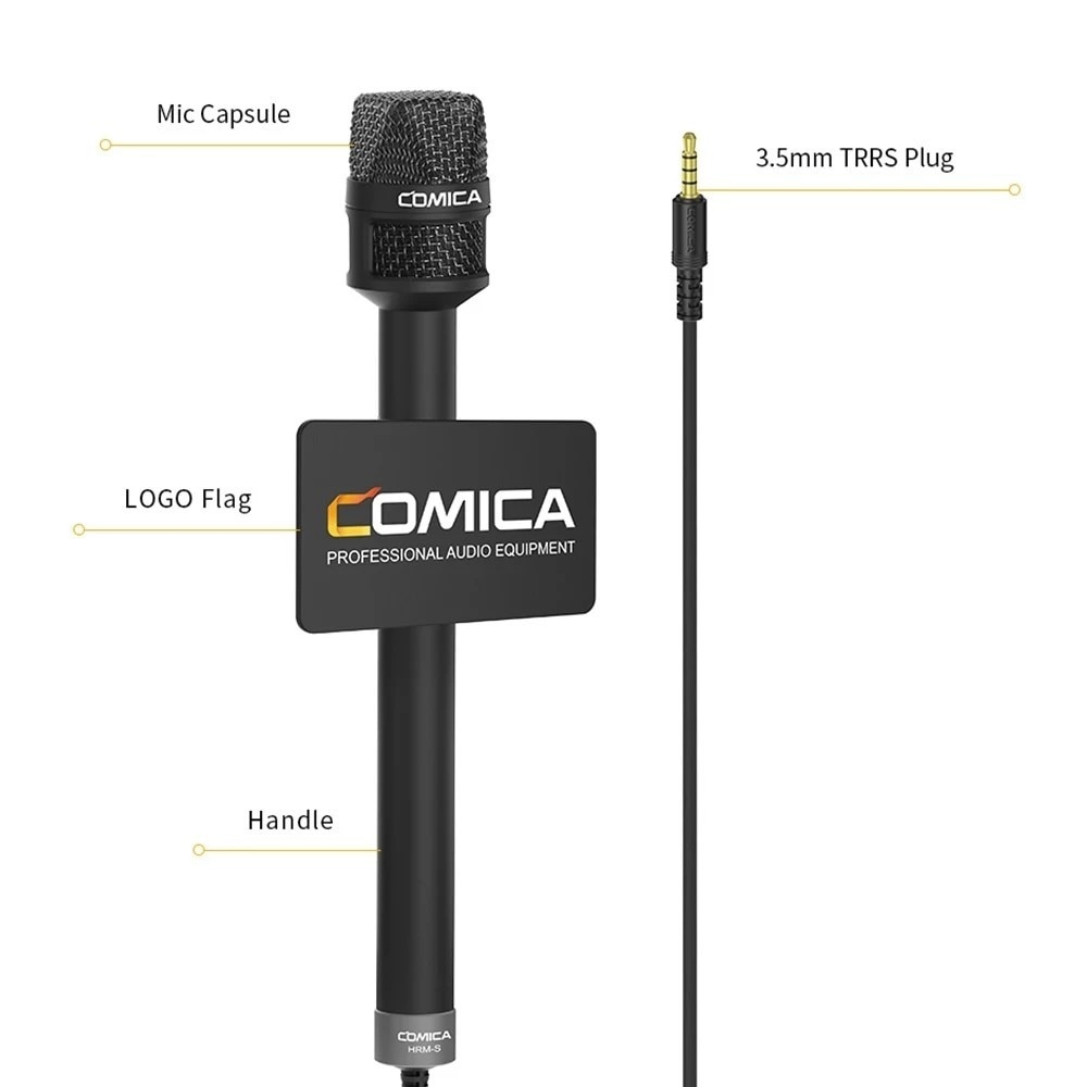COMICA HRM-S Handheld Capacitor Microphone Professional Speaker Machine Mic for Smartphone Interview Reporter enlarge