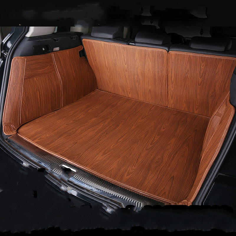 Alfombras impermeables de grano de madera de recubrimiento completo, esteras para maletero de coche personalizadas para Kia Niro Stinger KX CROSS Cerato Optima RIO Forte