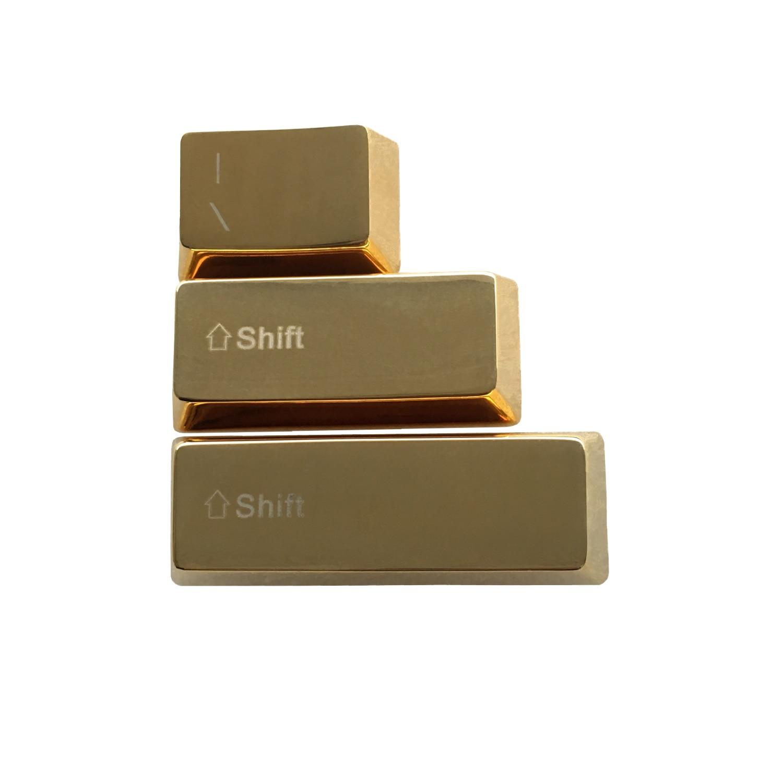 Золотые металлические клавиши на клавиатуру с подсветкой правой и левой клавишами переключения OEM профиль Cherry MX клавишные колпачки для MX переключатели механические игровые клавиатуры