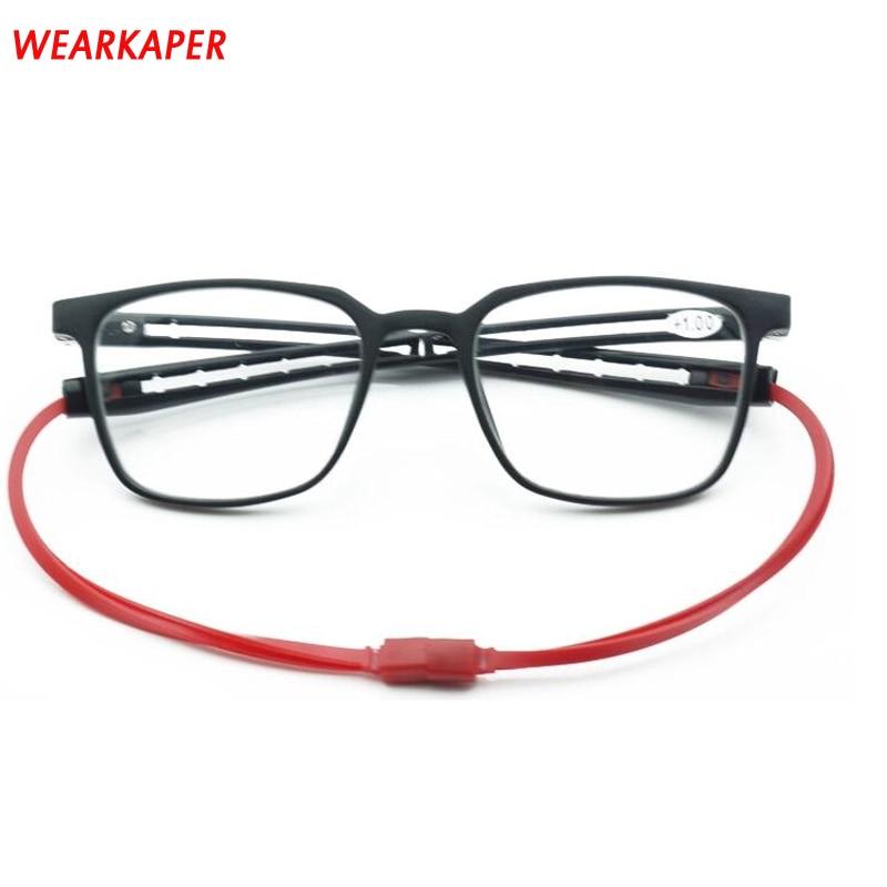 WEARKAPER imán gafas de lectura de las mujeres de los hombres ajustable cuello colgante magnético llanta delantera lectura gafas imán antifatiga