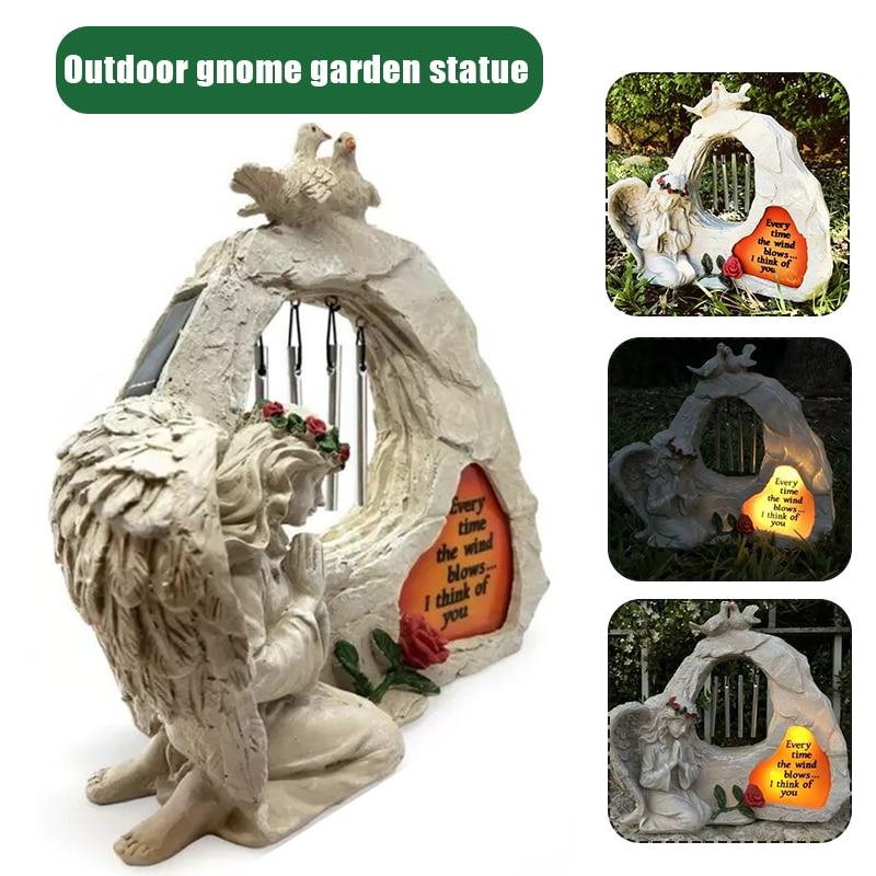 تمثال حديقة تذكاري مع أجراس رياح وأضواء Led تعمل بالطاقة الشمسية ، تمثال ملاك راكعي ، تمثال ملاك صلاة خارجي D1