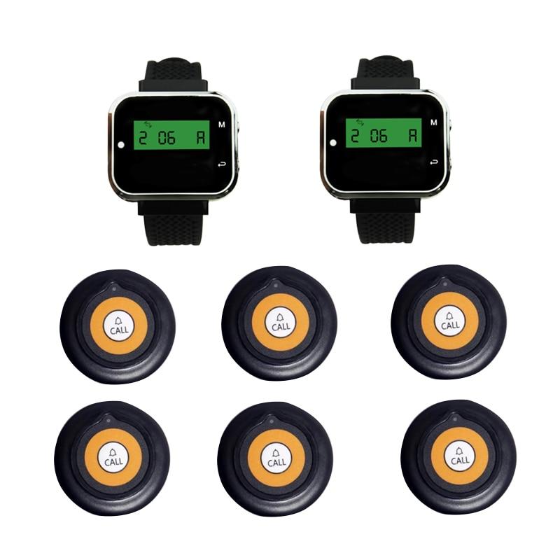 Wireless Paging Calling Queue System 2 Wrist Watch Receiver +6 Super Thin Button Transmitter For Restaurant Church Office Bar