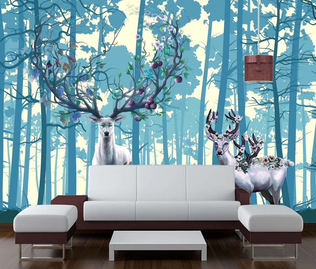 Фон на заказ, стена, леса, лось, холма, стена, фотообои, 3d обои, бумажная стена для wwallpaper