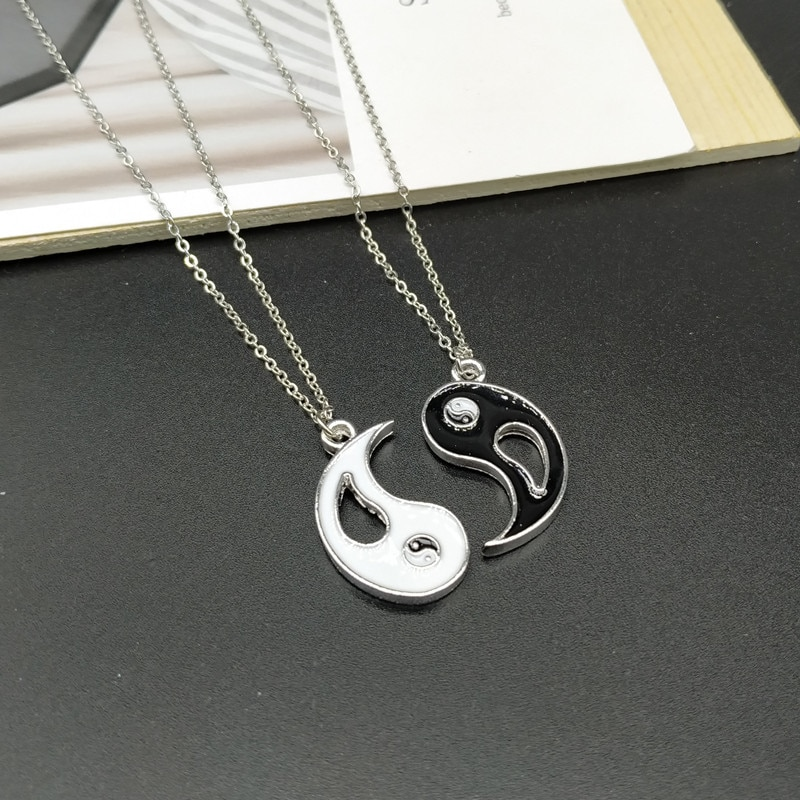 Colar e pingente unissex yin yang chi, 2 peças, amigos, casais, parear, colares e pingentes, unissex, amantes dos namorados presente