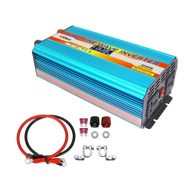 Solar inverter 12v 220v 12V/24V Pure sine wave inverter 2000W/3000W/4000W/6000W Dc 12v to Ac 220v Car converter LCD Display 4