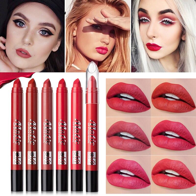 Lápiz de labios mate lápiz de labios de larga duración lápiz de palo de labios antiadherente para mujeres maquillaje diario cosméticos pigmento de tinte de labios