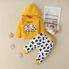 2020 neugeborenen Baby Junge Mädchen Kleidung Kinder Langarm Baumwolle Kuh Top Hoddies Hemd Tops + Hosen Leggings Kleinkind Outfit 2pics Sets