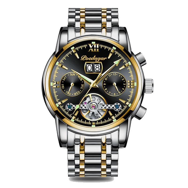 POEDAGAR Men Watches Top Brand Luxury Stainless Steel Blue Waterproof Quartz Watch Fashion Chronograph Sport Military
