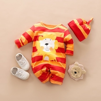 PatPat Baby Lion Print Sunshine Style Long-sleeve Jumpsuit and a Hat for Baby Boy Body Suits Clothes