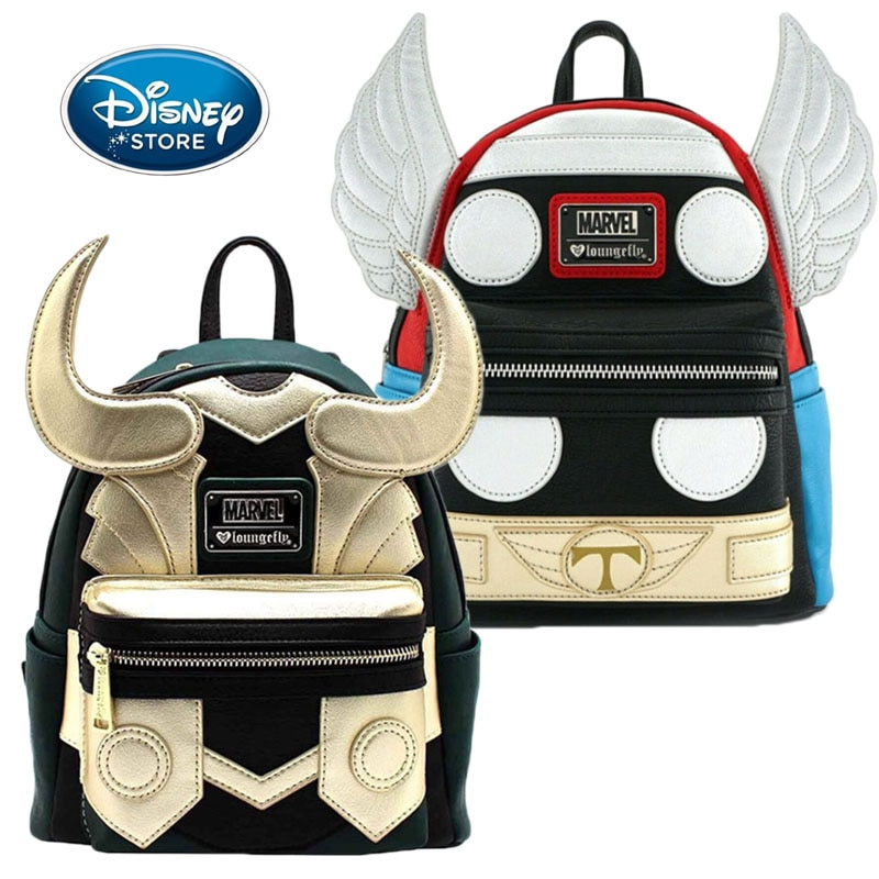 Disney Marvel PU Backpack High-Capacity The Avengers Loki Thor Super Hero Bag Boy Girl Children Schoolbag Handbag Birthday Gifts