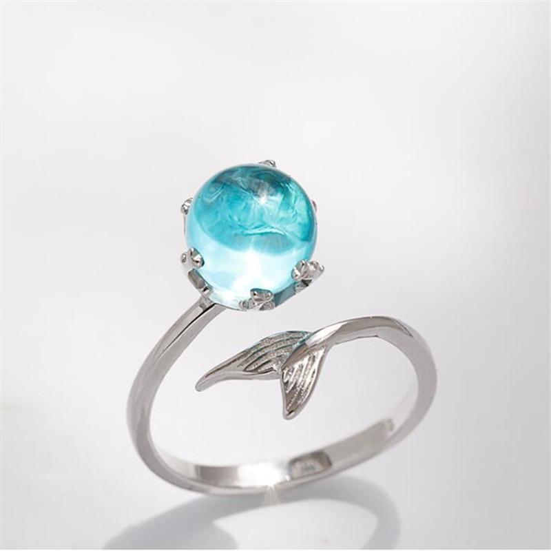 Anillos abiertos con burbujas de sirena de cristal azul de Color plateado para mujer, regalo de boda, cumpleaños, joyería creativa a la moda, anillo de joyería
