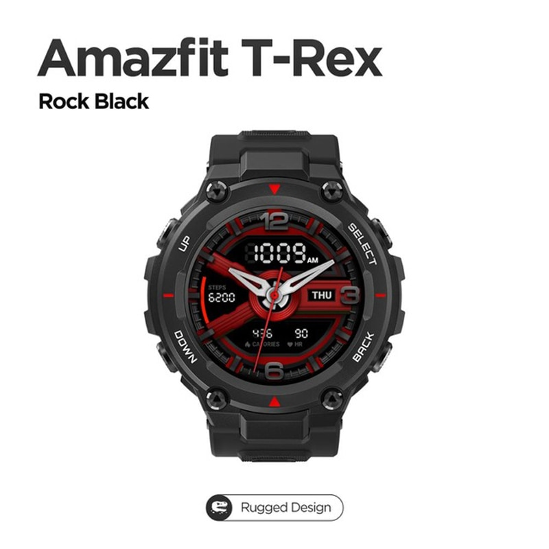 Review New 2021 CES Amazfit T rex T-rex Smartwatch Control Music 5ATM Smart Watch GPS/GLONASS 20 days battery life MIL-STD for Android