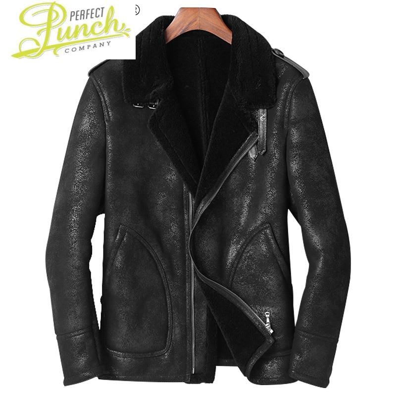 الشتاء 2021 جلد الغنم الحقيقي سترة الذكور الصوف الحقيقي طوق السترات السوداء الدافئة سميكة معطف Casaco Masculino Gmm38