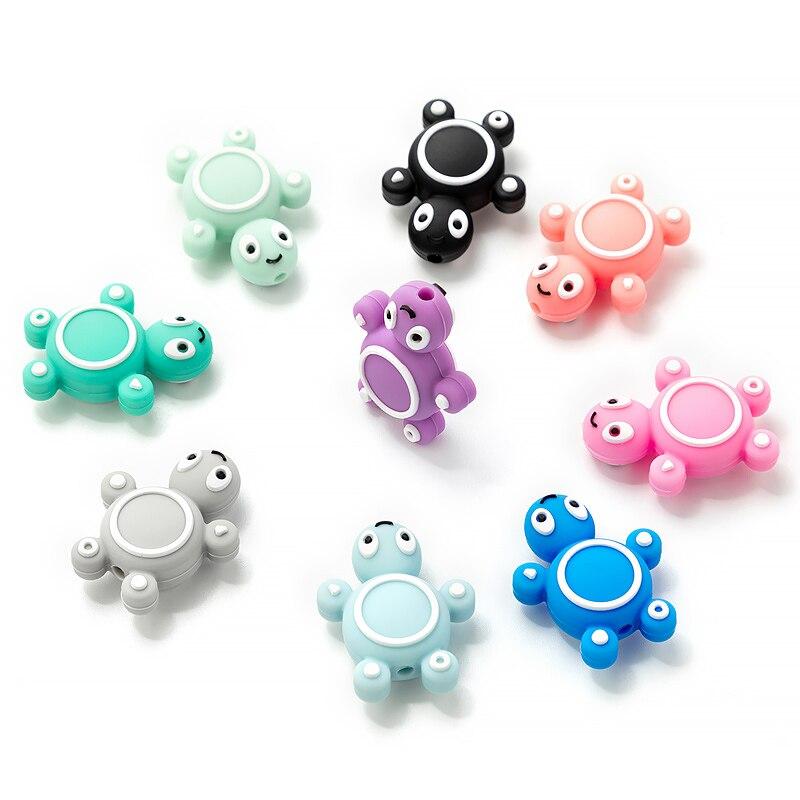 TYRY.HU 50Pcs/Set Cartoon Mini Turtle silicone beads BPA Free Food Grade Silicone Teether DIY Teething Nursing Necklace  Accesso