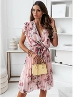 printed ruffles a line womens dress v neck lace up sleeveless plated female dresses 2021 new summer sexy beach ladies clothes
