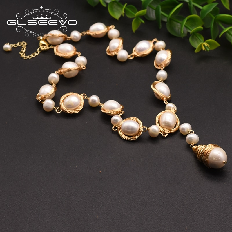 GLSEEVO Natural Fresh Water Baroque Pearl Pendant Necklace For Women Adjustable Necklaces Luxury Jewelry Bisuteria Mujer GN0045