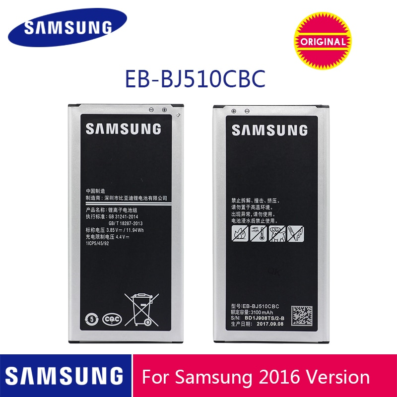 Samsung-móvil Original, batería EB-BJ510CBC de 3100mAh para SAMSUNG Galaxy J5, edición 2016, J510, J510FN, J510F, J510G, J510Y, J510M