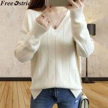 Suéter coreano para mujer, Jersey ajustado de punto de invierno, suéter de moda de Color liso con cuello en V y manga larga, Tops pulover Feminino Inverno