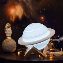 3D Printing Saturn Lamp Rechargeable 3D Printing Lamp Moon Night Light Lamp Saturn Moon Light Remote