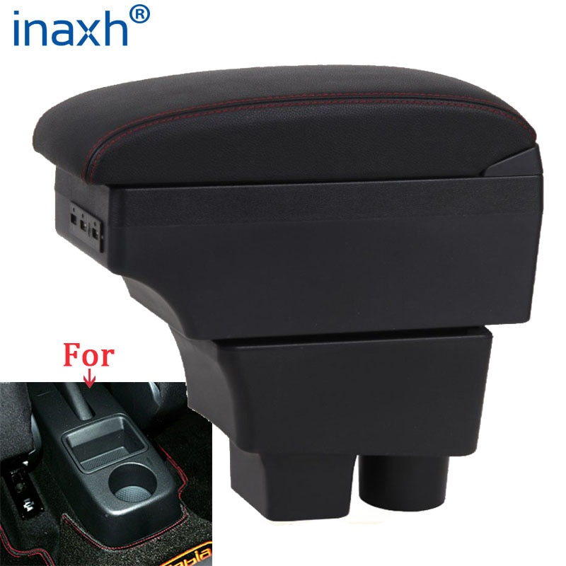 For Skoda FABIA Armrest 2008-2014 2013 2012 2011 Car Armrest box Retrofit parts Storage box car accessories Interior USB LED for suzuki swift armrest box 2005 2019 car armrest car accessories interior storage box retrofit parts usb 2011 2014 2017 2018