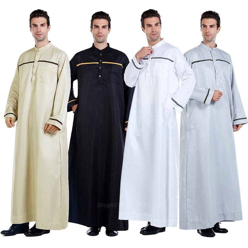 Casual Arabia Saudita Jubba Thobe hombres Abaya túnicas musulmanas de manga larga India ropa islámica de Oriente medio ropa de fiesta árabe suelta