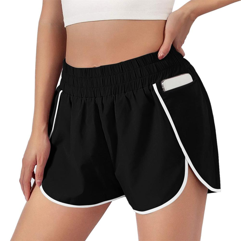 fake two-piece sport shorts Women fitness yoga pants solid color elastic waist running shorts with pocket lady loose mini shorts women sports shorts comfortable elastic band fake two compression solid running yoga shorts