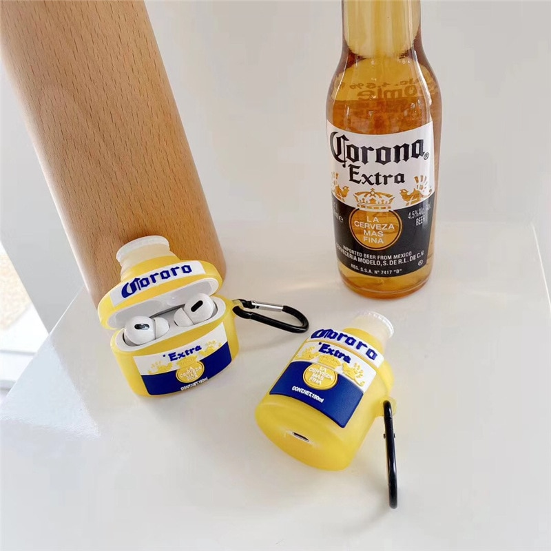 Para los Airpods caso 1/2 3D creativo caja de cervezas de silicona suave auricular auriculares caso de la cubierta para los Airpods caso para niños/niñas