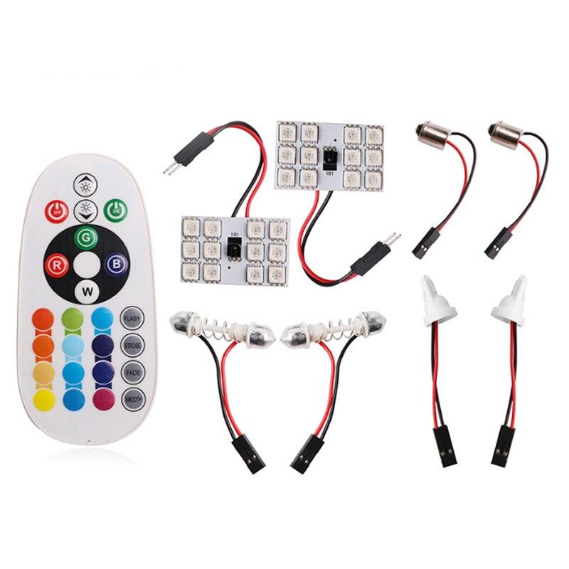 2 uds luz de lectura de coche RGB-5050-12SMD BA9S Panel de lámpara LED RV Interior colorida atmósfera luz decorativa accesorios de coche