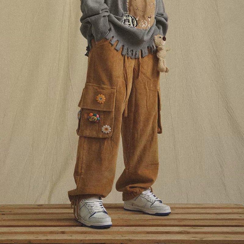 Вельветовые брюки HOUZHOU, широкие штаны для мужчин, брюки-карго, мужские винтажные брюки, зимние теплые японские модные брюки в стиле Харадзюк...