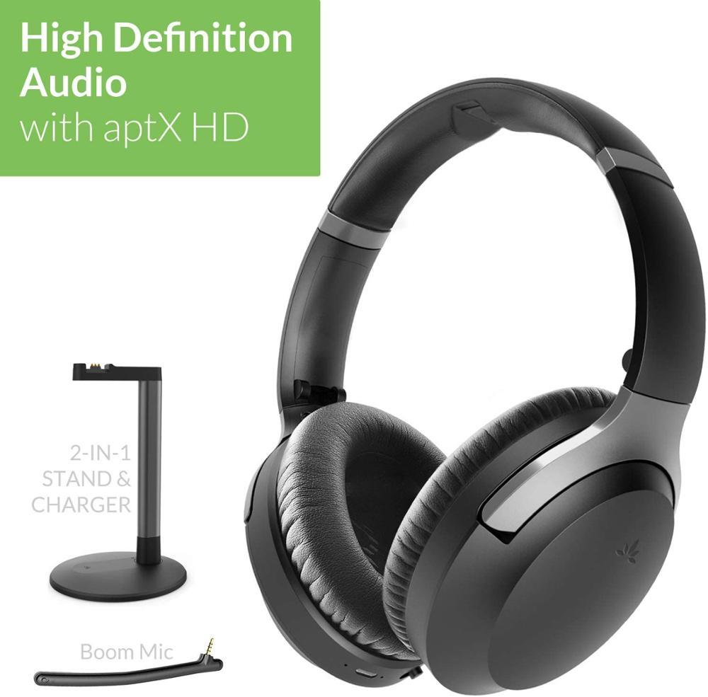 Avantree Aria Podio aptX-HD Bluetooth 5,0 Aktive Noise Cancelling Kopfhörer, Drahtlose Über Ohr Headset mit Boom Mikrofon