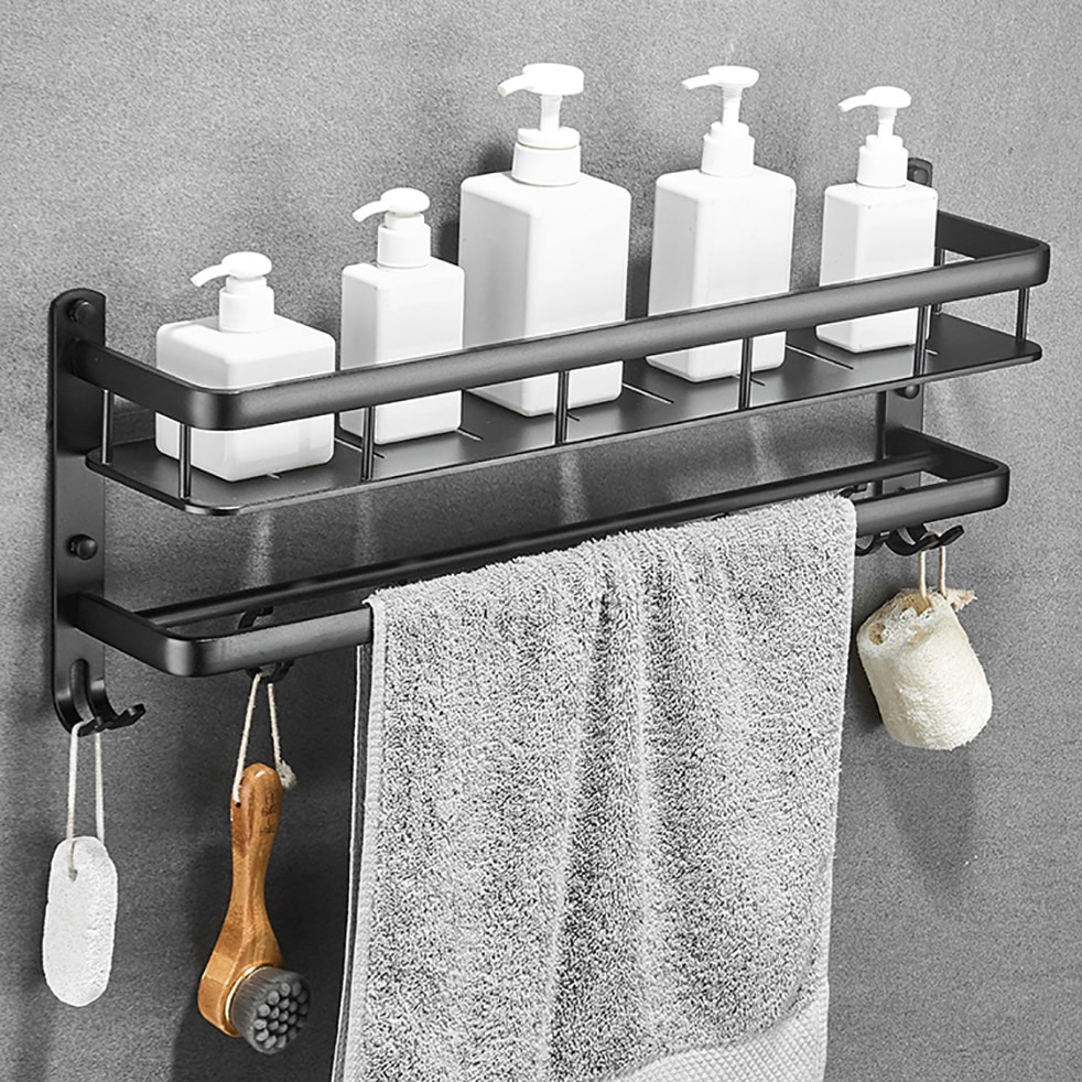 أسود الألومنيوم الحمام الجرف جدار جبل العائمة دش العلبة حمام الرف مع بار و هوك ل الشامبو رفوف تخزين المطبخ