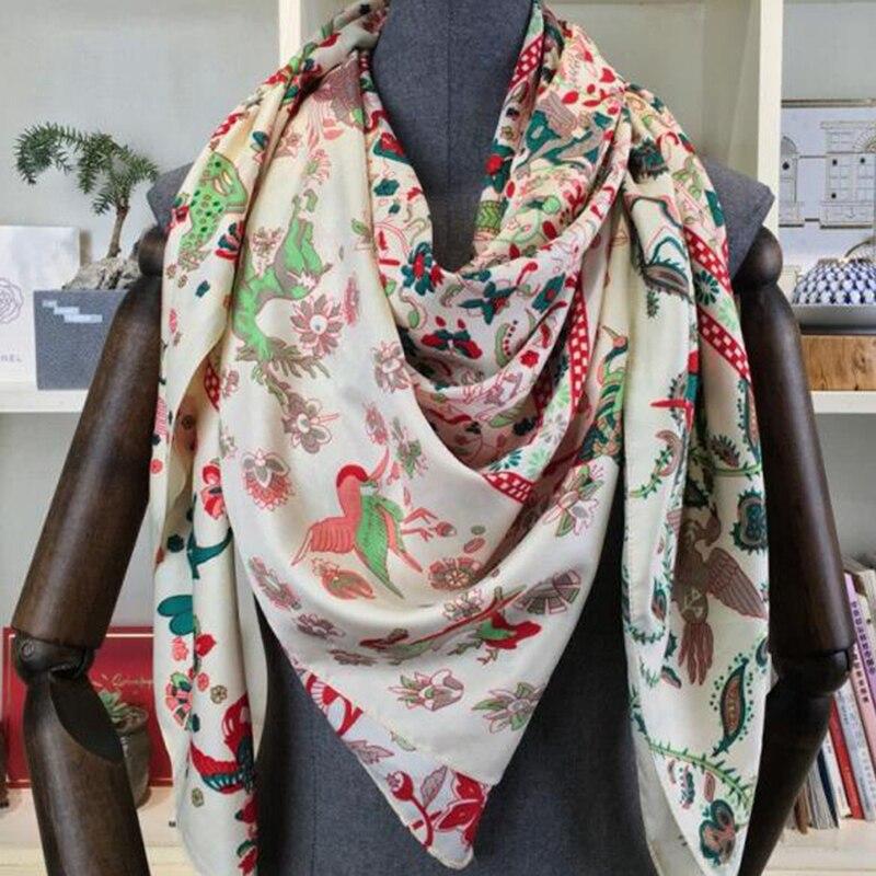130*130 см роскошные брендовые шарфы для женщин, головные шарфы, шали с принтом из саржевого шелка, квадратный хиджаб, шарф, платок, бандана, платок