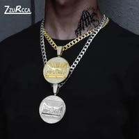 hip hop iced out the last supper pendant bling rhinestone gold cuban chain necklace for men charm jewelry gift cordao masculino