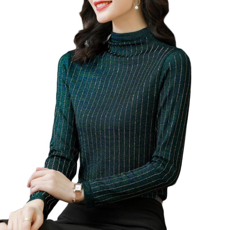 Tops y blusas para mujer, blusa brillante Lurex de manga larga con...