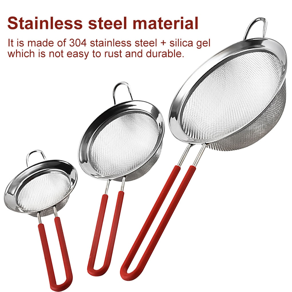 8/10/14cm Flour Sieve Stainless Steel Flour Sieve with Long Handle 2 Layer 30 Fine Mesh Strainer Sifter Coffee Fruit Egg Filter