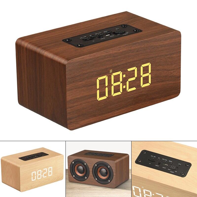 Portátil Bluetooth 4,2 inalámbrico columna de altavoz Bluetooth Subwoofer caja de sonido de música LED hora despertador para teléfono portátil