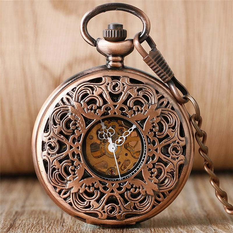 Vintage Rose Gold Pocket Watch Skeleton Handwinding Mechanical Clock Carving Flower Design Pendant Chain Roman Number Dial Gift