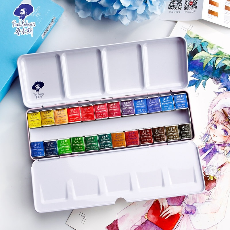 paul rubens 12 24 48 watercolor paint set with metal case solid artist water color painting pigment for drawing art supplies Paul Rubens Fine Solid Watercolor Paint Set 12/24/48 Color Fresh Style Metal Box Bright Water Color Painting Pigment