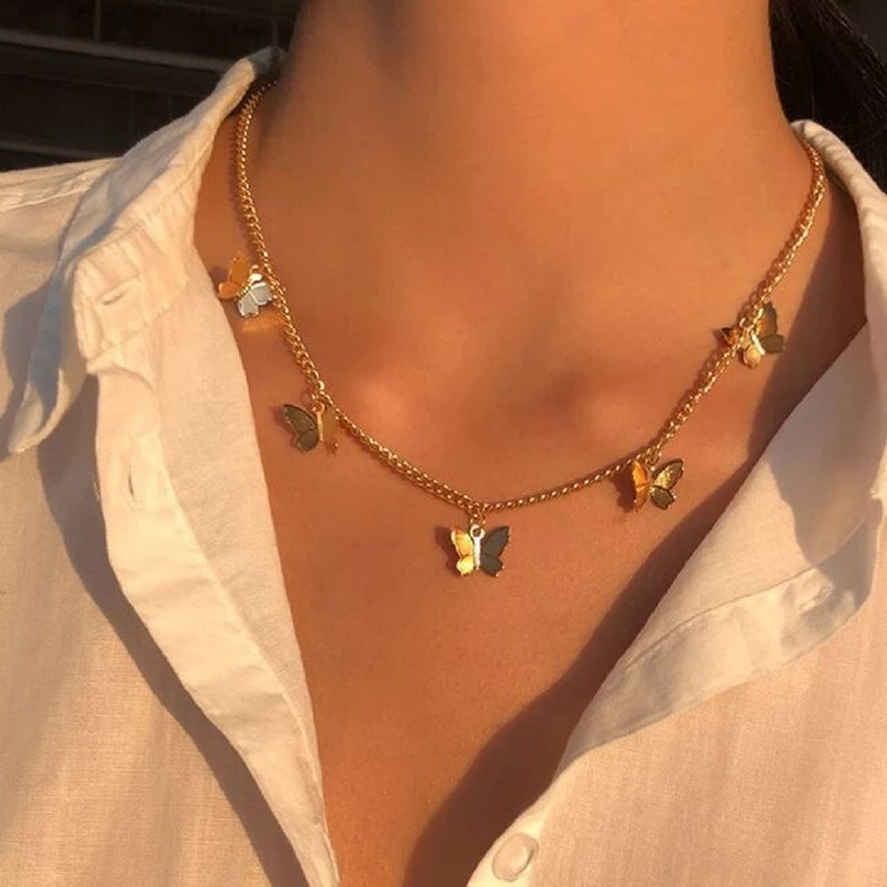 New Vintage Multilayer Pendant Butterfly Necklace for Women Gold Silver Clavicle Chain Boho Fashion Jewelry Gift  Christmas