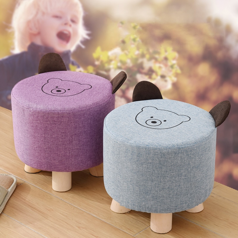 Stool under stool wood stool small stool children stool children's stool children's stool bathroom drawings beading seat cushion or floor stool small wooden stool with cotton and linen cover