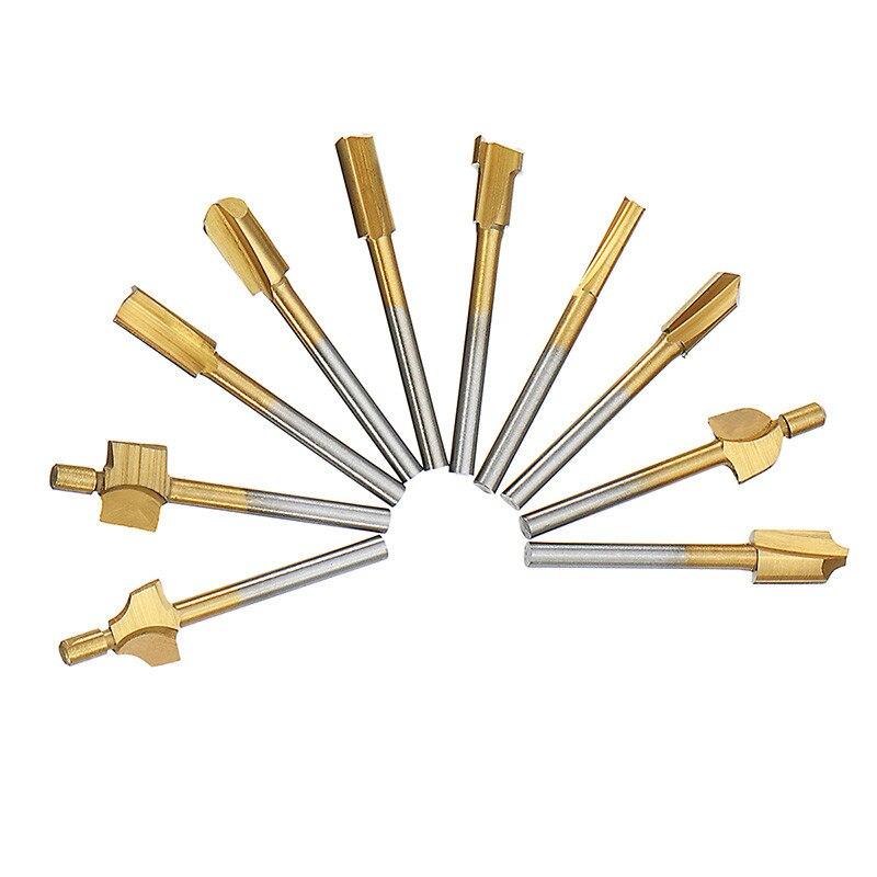 10 unids/set fresas de madera de 3mm para enrutador de titanio HSS para herramienta giratoria dremel, máquina de grabado, ranura de fresado